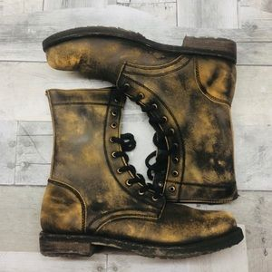 Free People distressed bleached combat boots